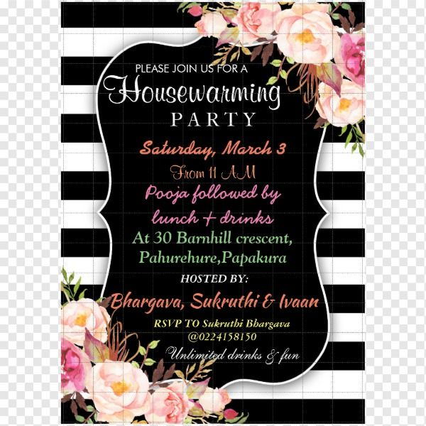 Elegant Floral Stripe Housewarming Invitation  Floral Stripe