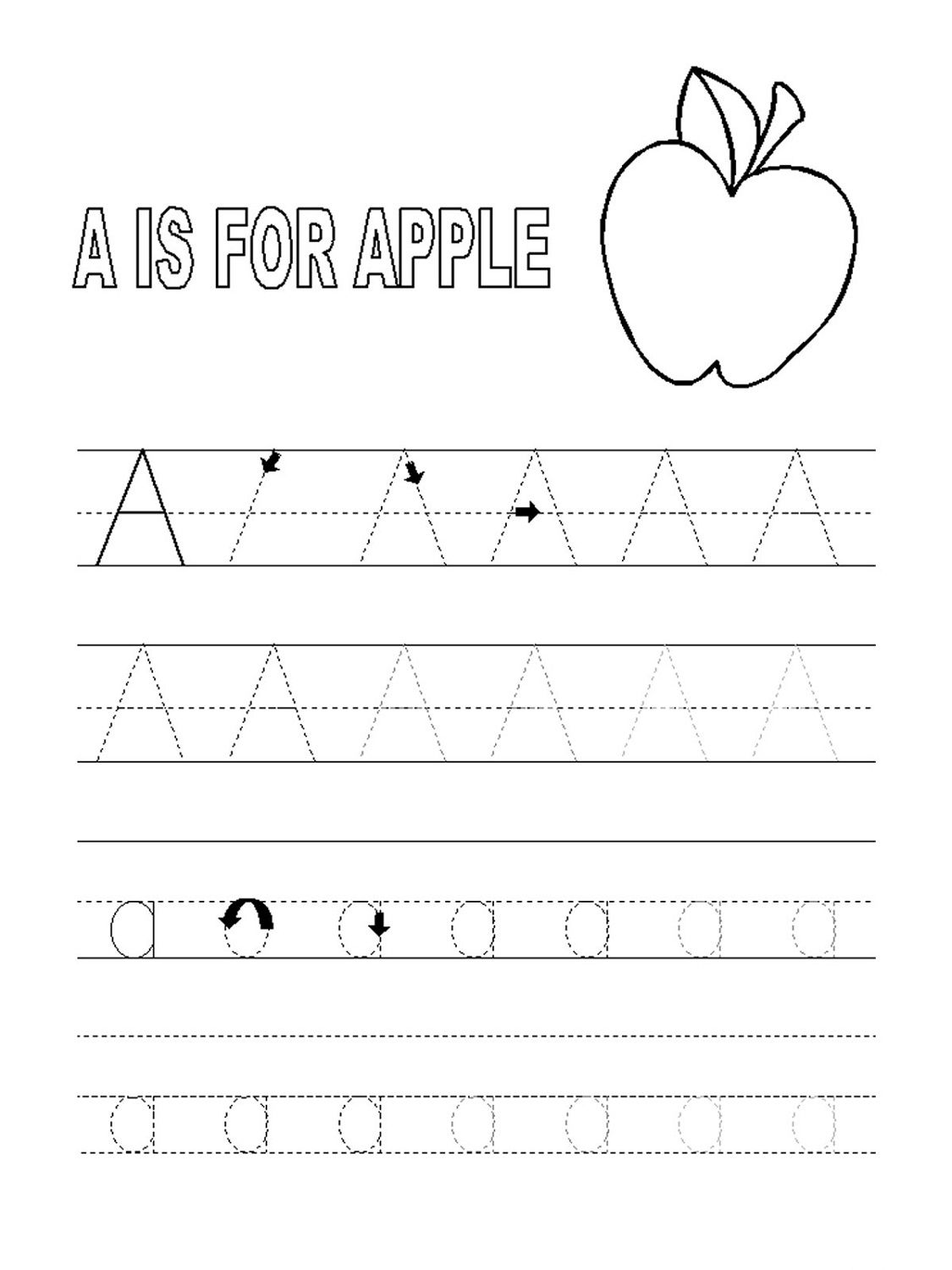 Trace Letter A Sheets to Print | Alphabet tracing ...