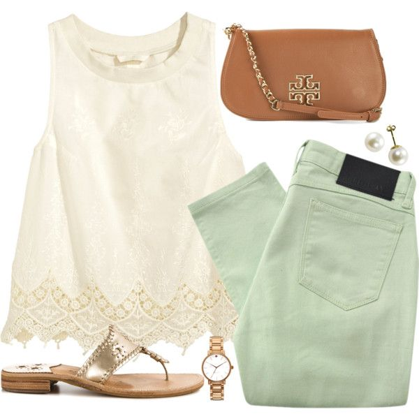 pastels by thatpreppygirl0 on Polyvore featuring H&M, Religion Clothing, Jack Rogers, Tory Burch and Kate Spade