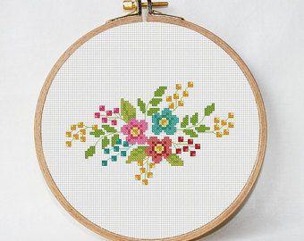 Flower Heart Cross Stitch Pattern Love Cross Stitch Pattern Etsy Floral Cross Stitch Cross Stitch Patterns Flowers Cross Stitch Patterns