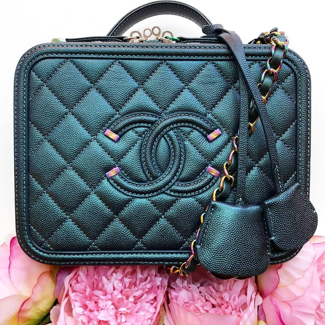 1302ab7c28c1 Authentic Chanel Dark Turquoise Medium Filigree Vanity Case with rainbow  hardware! Such a stunning bag! In like new…""