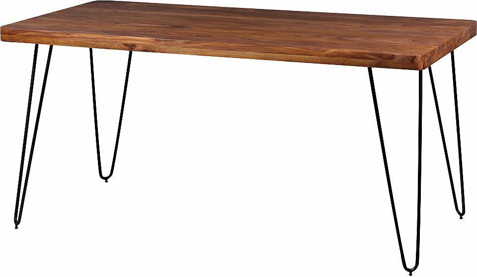 Wohnling Massivholz Akazie Esstisch 120 x 80 x 76 cm Küchentisch ...