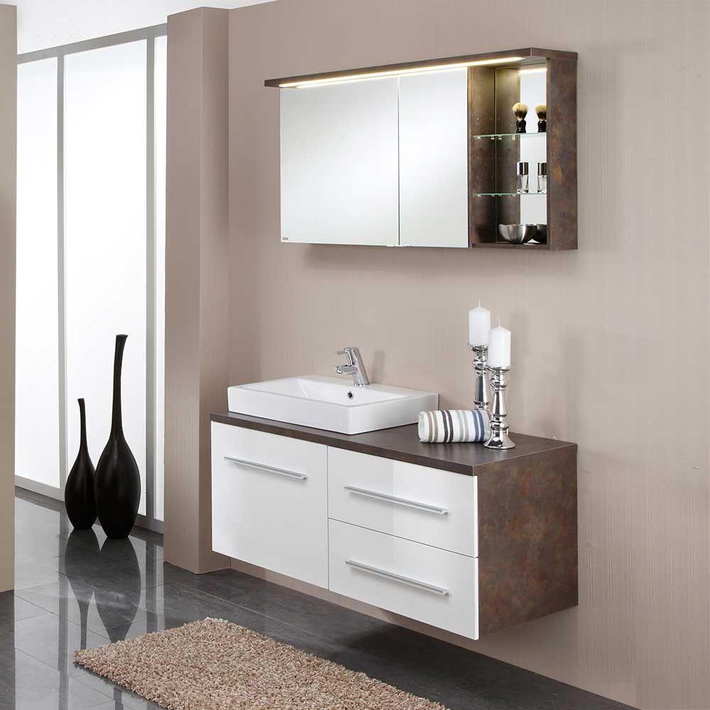 Badezimmer Kombination mit Spiegelschrank Hochglanz Weiß