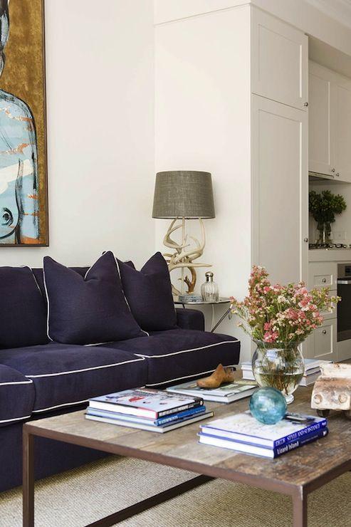 Incroyable Denai Kulcsar Interiors . Living Room . Contrast Piping . Sofa . Navy And  White