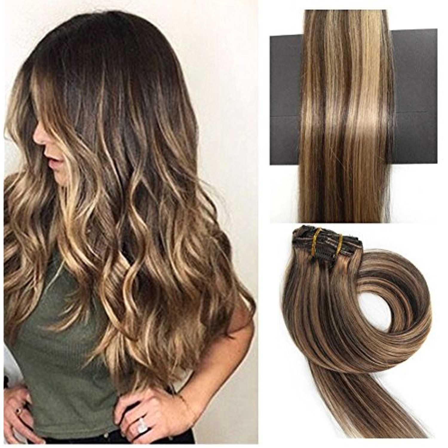 Thefashionway Brazilian Human Hair Extensions Clip In Silky Straight