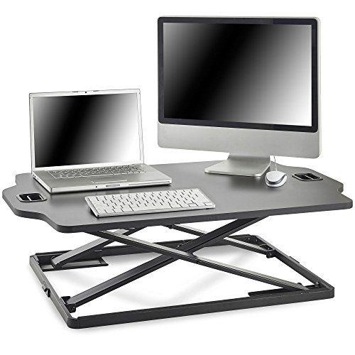 Peachy Vonhaus Sit Stand Desk Height Adjustable Dual Monitor Machost Co Dining Chair Design Ideas Machostcouk