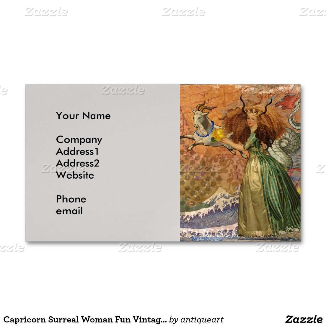 Capricorn Surreal Woman Fun Vintage Whimsical Magnetic Business