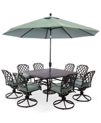Nottingham Outdoor Cast Aluminum 9 Pc Dining Set 60 Square Table And 8 Swivel Rockers Created For Macys