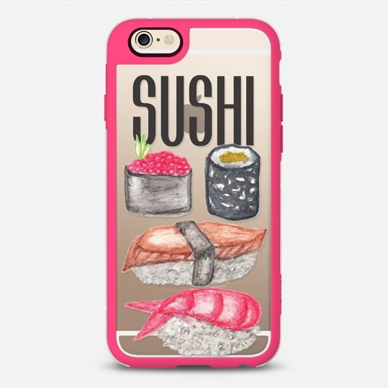 SUSHI Typography and Cute Watercolor Sushi- New Standard iPhone 6 Case in Pink and Clear by BlackStrawberry | @casetify