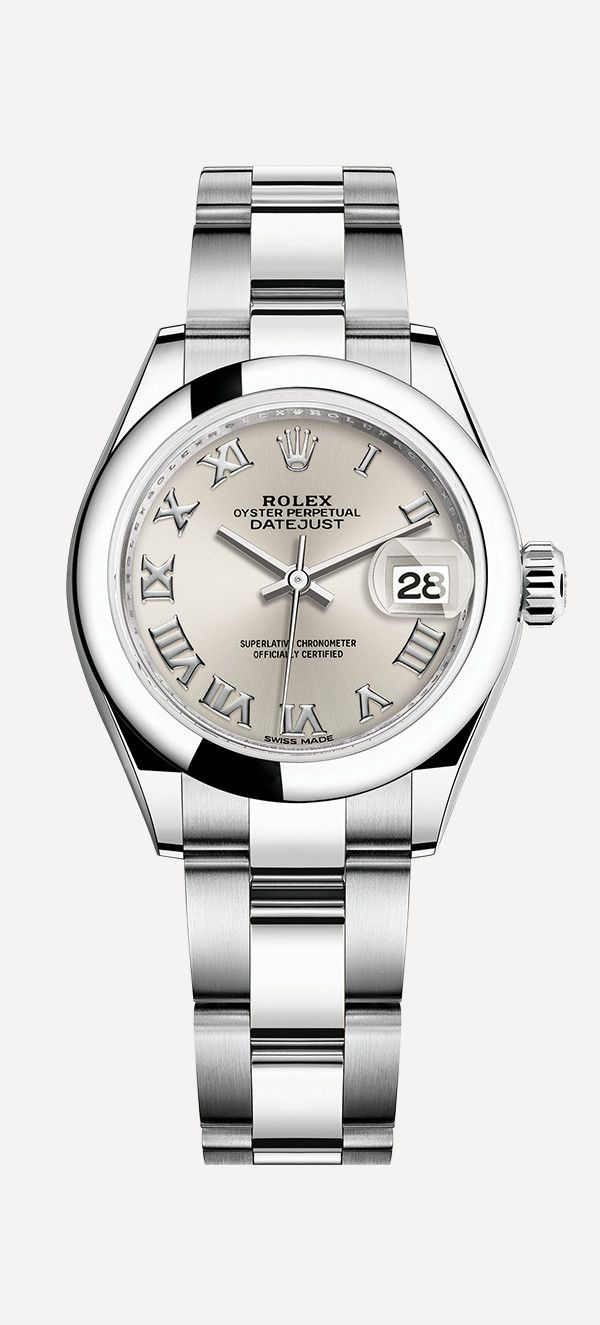 89131d8e251 The Rolex Lady-Datejust 28 in Oystersteel with a modern domed bezel and Oyster  bracelet.