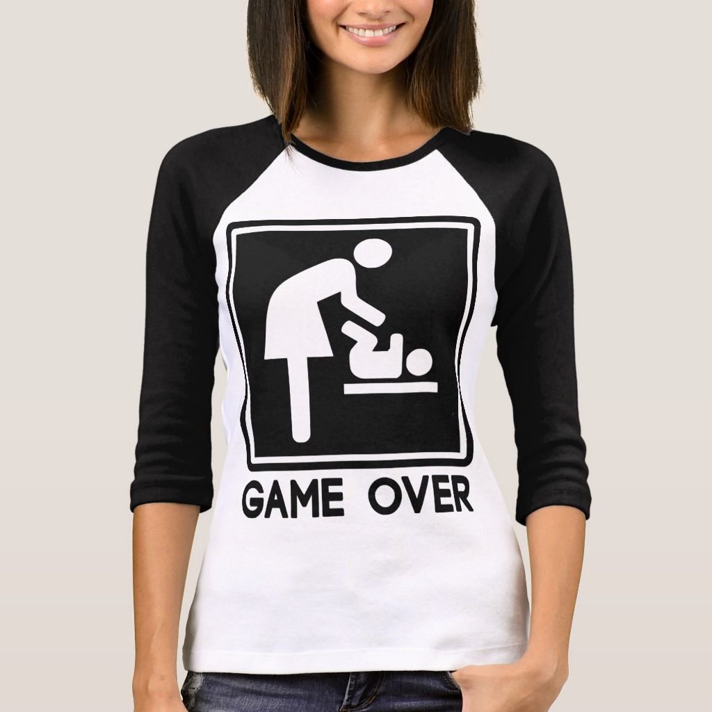 Game over new baby for parent mom tshirt womens size