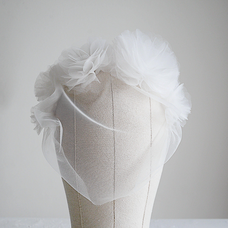 Birdcage veil with flower crown thea etsy elegant