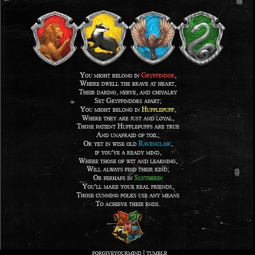 Part Of Sorting Hat Song Harry Potter Houses Harry Potter