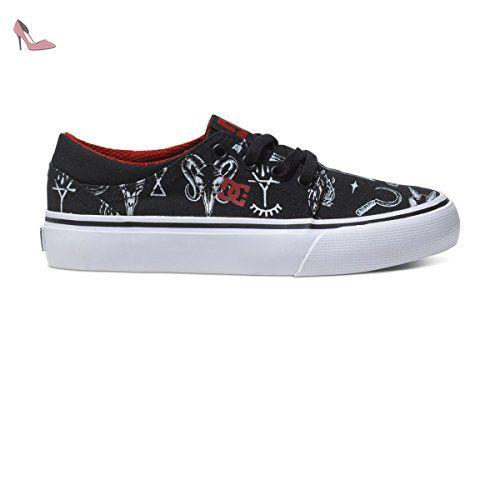 DC Shoes Trase TX, Chaussures de Skateboard Garçon, Noir (Black/White BKW), 36 EU