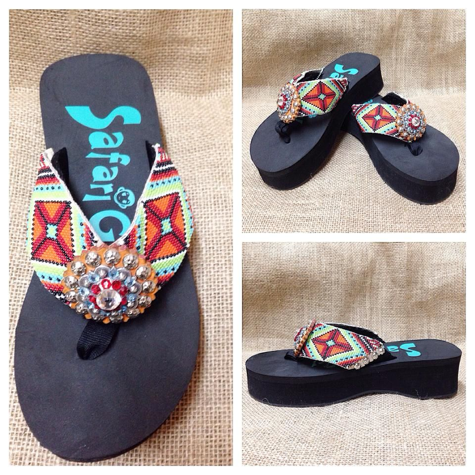 Ladies, you are gonna LOVE these new beaded flip flops from Safari Girl! Perfect for summertime! These are priced at $109.95. Visit www.facebook.com/chickelms or call 254-968-3920