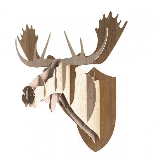 Trophée - Tête de Elan en bois Moose