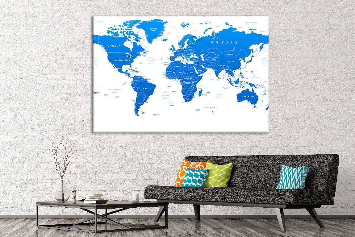 Blue world map canvas world map push pin world map pin board push blue world map canvas world map push pin world map pin board push pin travel map push pin map giant world map push pin map world wall decor gumiabroncs Image collections