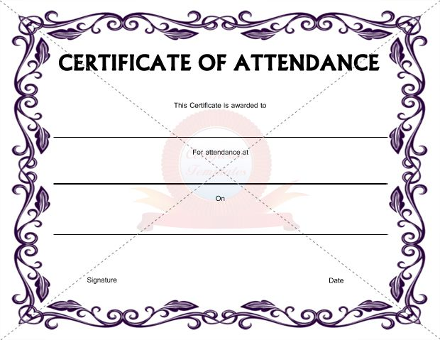 Certificate Of Attendance Template  Certification Of Attendance