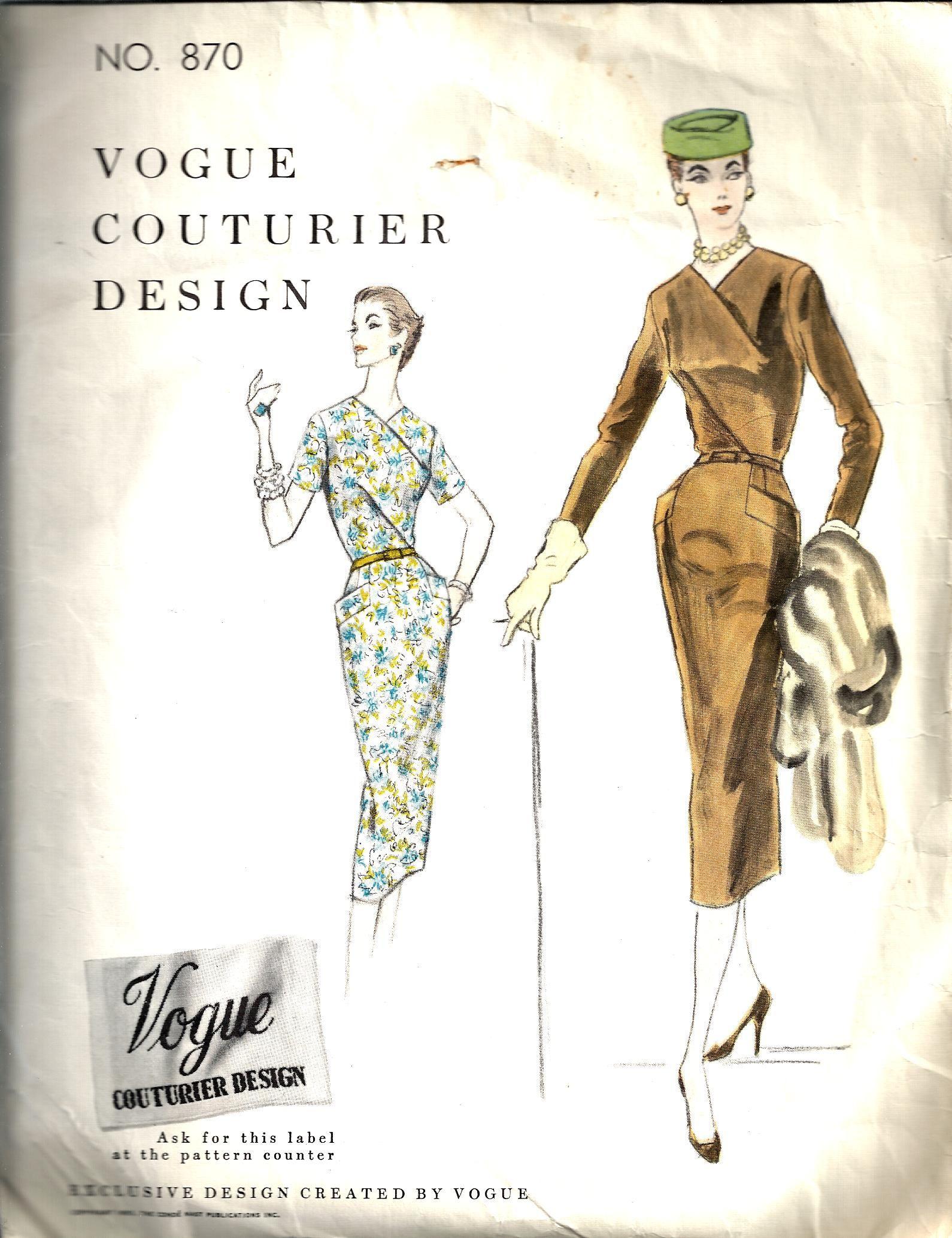 Vintage Sewing Pattern Dress Vogue Couturier 870 | paper, printables ...