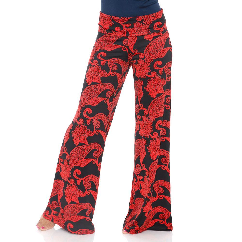 Women's White Mark Print Palazzo Pants, Size: Medium, Red Other