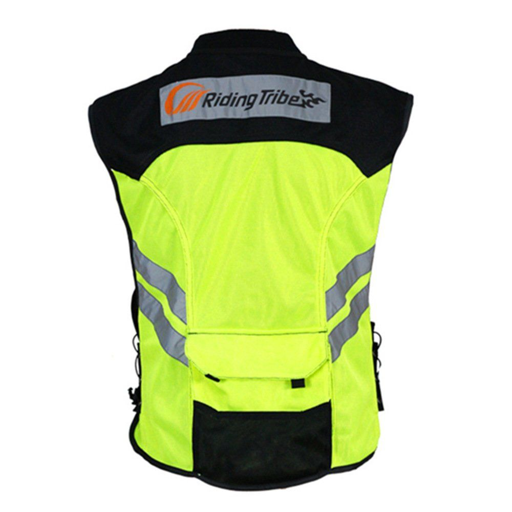 Riding Tribe JK22 Mens Motorcycle Racing Sleeveless Jacket Safety Reflective Vest 3XL-1//2 Chest:19.3, Green