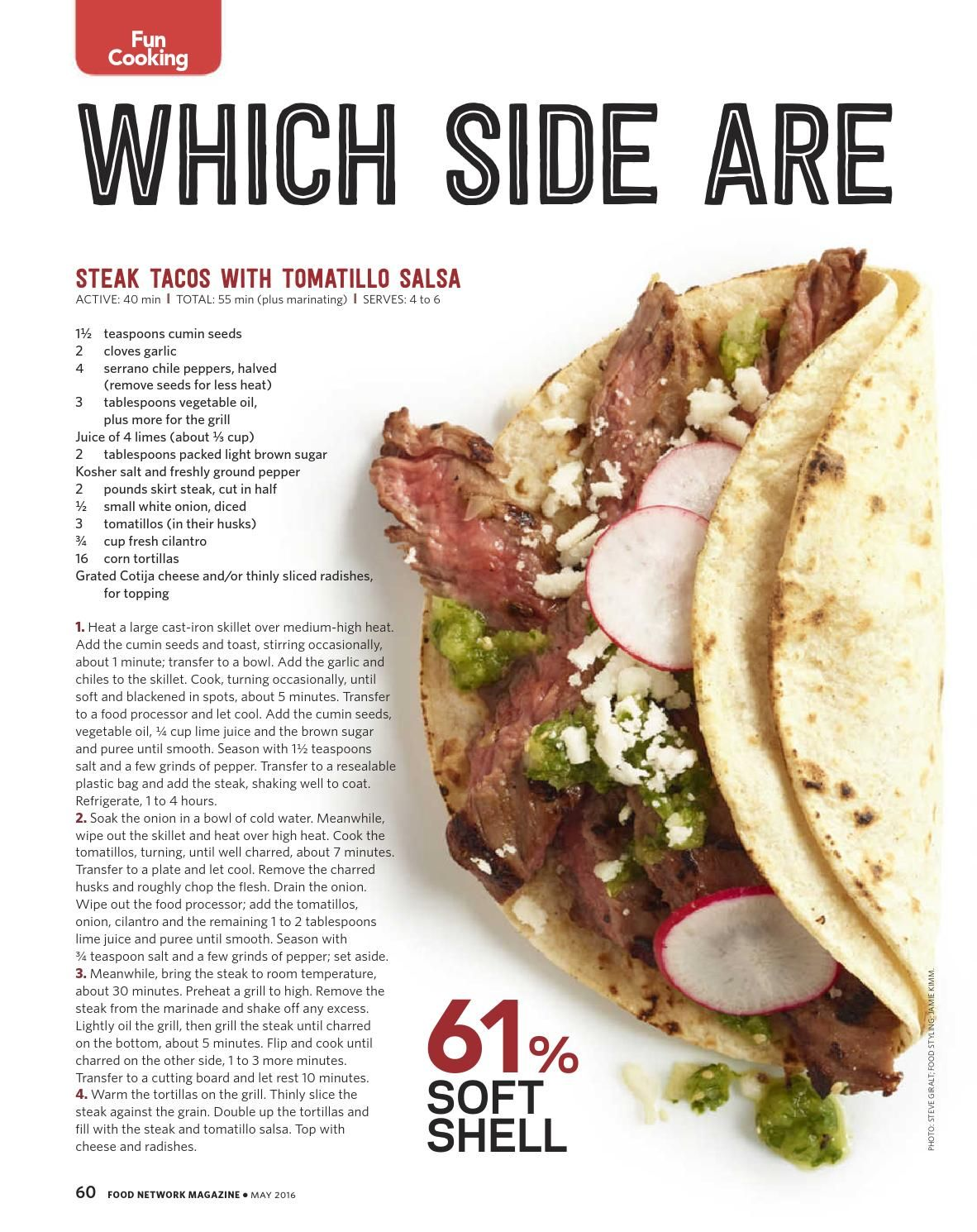 Food network magazine may 2016 recipe cards magazines and 500 steak tacos with tomatillo salsa recipe from food network kitchen via food forumfinder Image collections