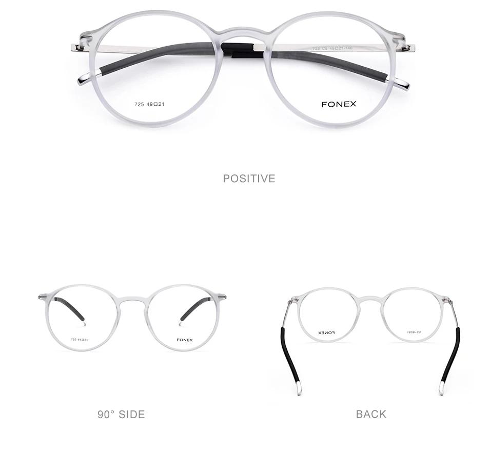 Fonex Brand Vintage Unisex Round Glasses Men Women Eyeglasses