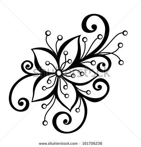 Flower Stem Clipart Black And White Google Search Flower Drawing Flower Pattern Design Flower Doodles