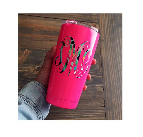 monogram tumbler monogrammed powder coated cup 20 ounce 20 oz