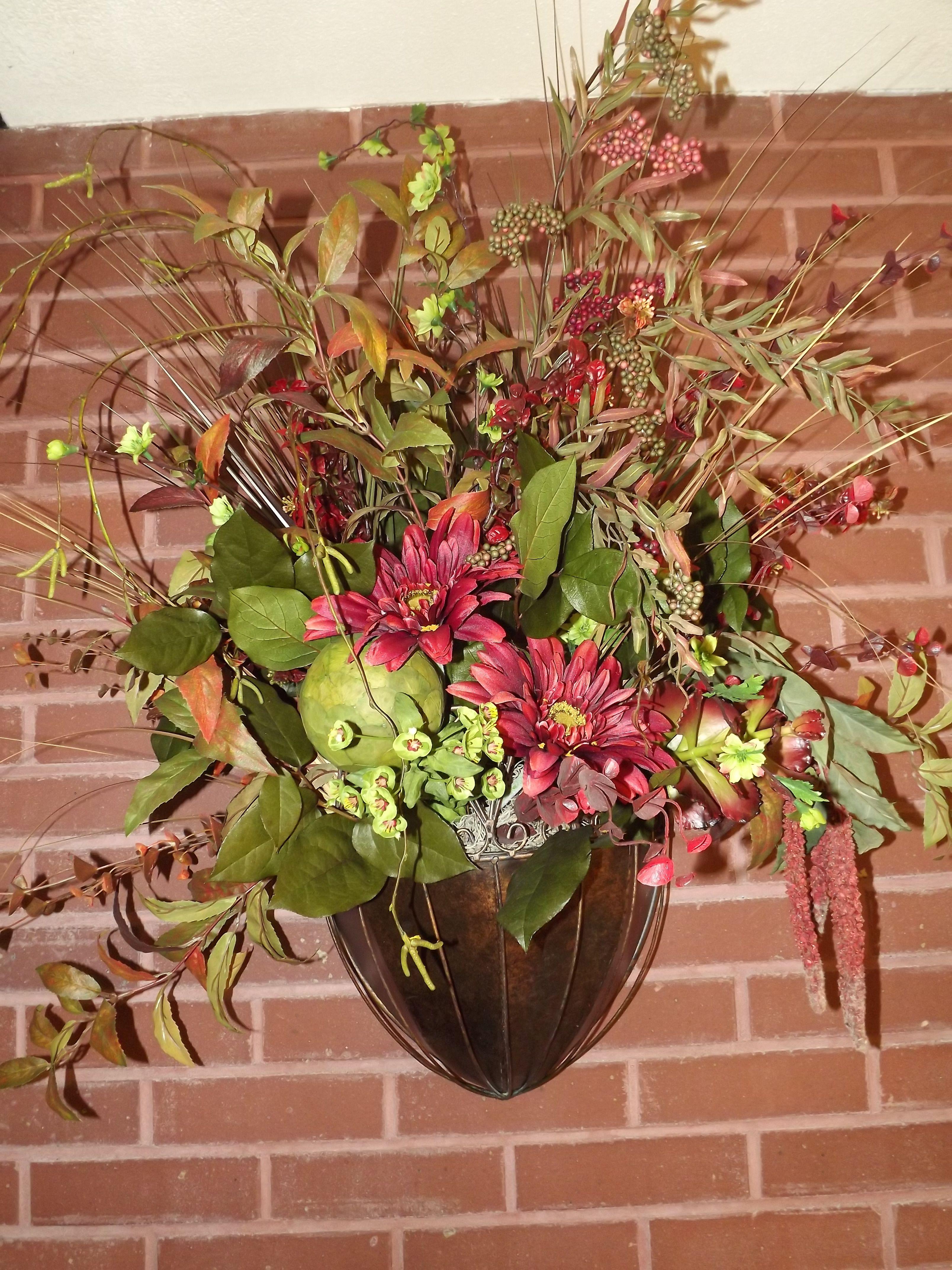Wall Pocket Sconce Floral Arrangement | Floral ... on Wall Sconce Floral Arrangements Arrangement id=62588