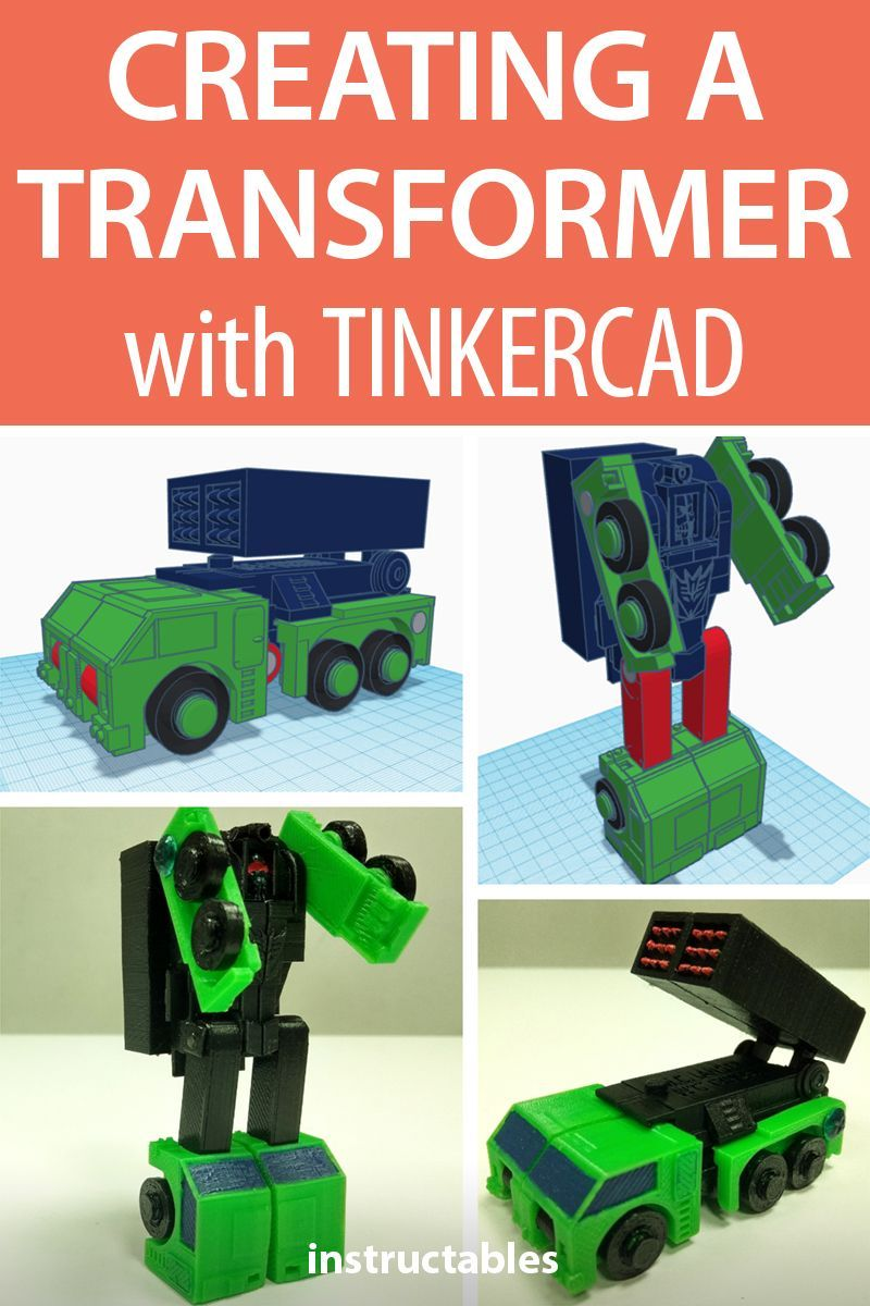 Create your own mini transformer toy using tinkercad this is a g1 inspired decepticon that transforms from robot to a military missile launching vehicle