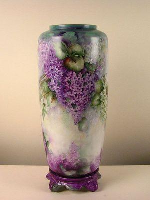 Huge Hand Painted German Porcelain Artist Signed Vase Violets Lilac Flowers Painting Glassware Porcelain Painting Beautiful Vase