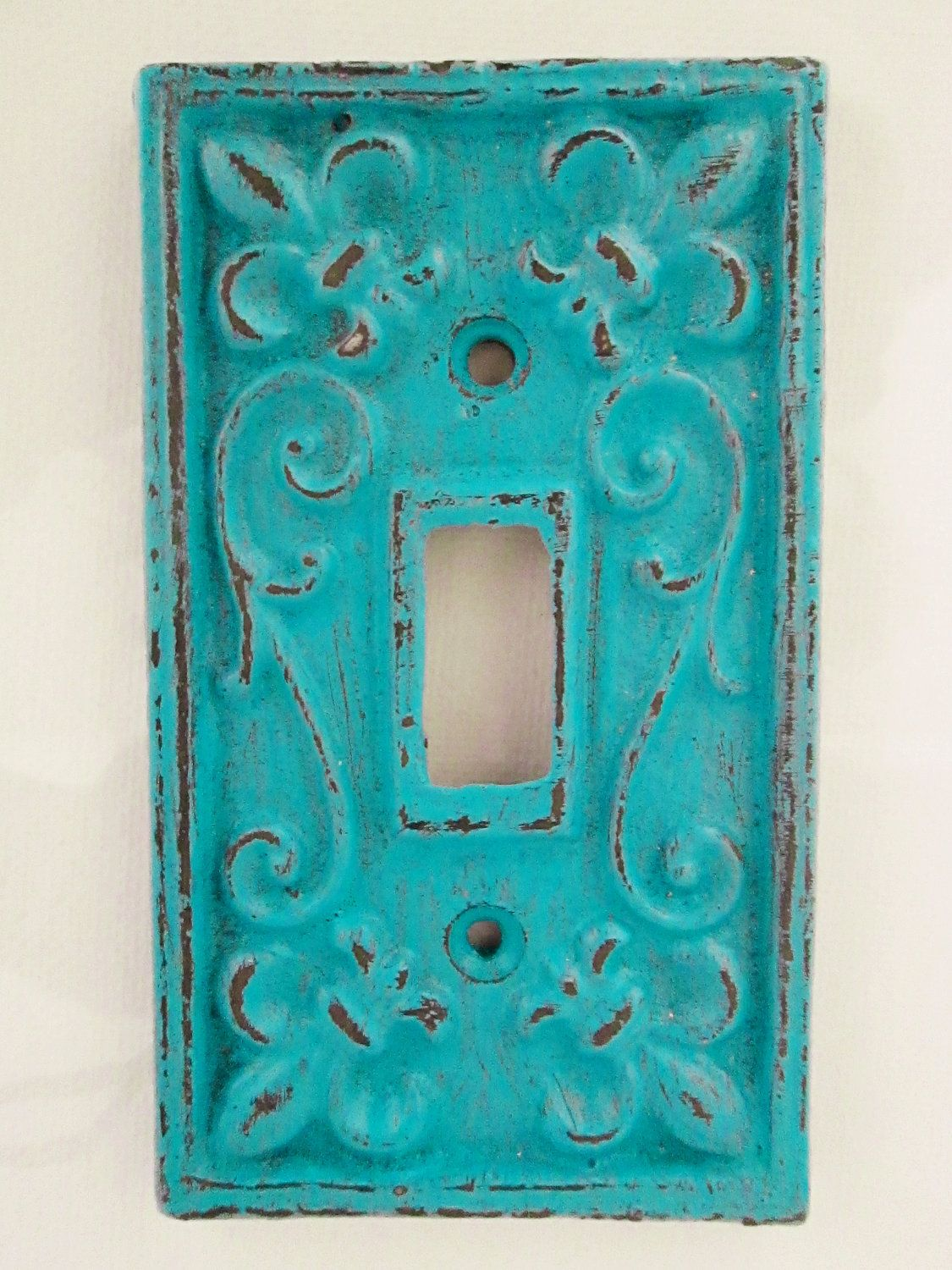 Light Switch Plate Cover In Turquoise Blue With Fleur De Lis 10 00 Via Etsy