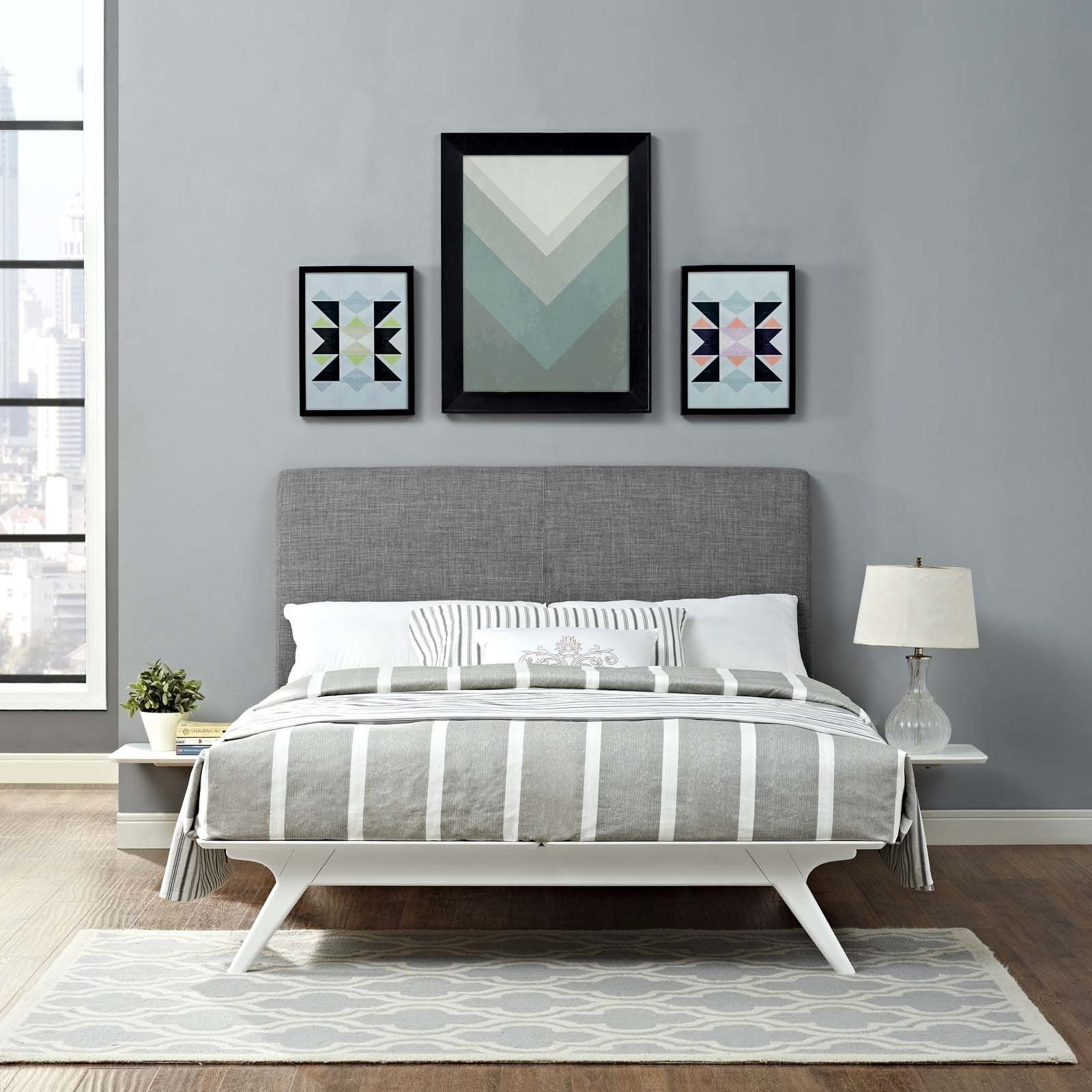 Modway Tracy Mid Century Linen Look Upholstered Full Size Platform Bedroom Set (White