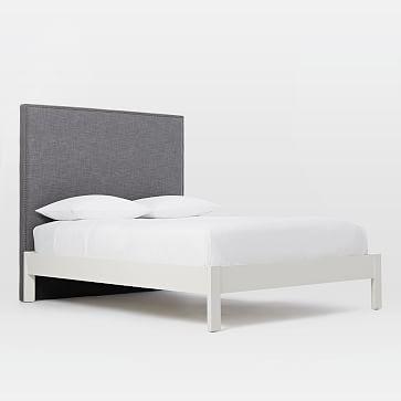 Tall Nailhead Headboard, Steel Gray + Simple Bedframe, White -Full ...