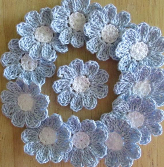 Delft Blue and White, Crochet Flowers, Handmade, Embellishments ...