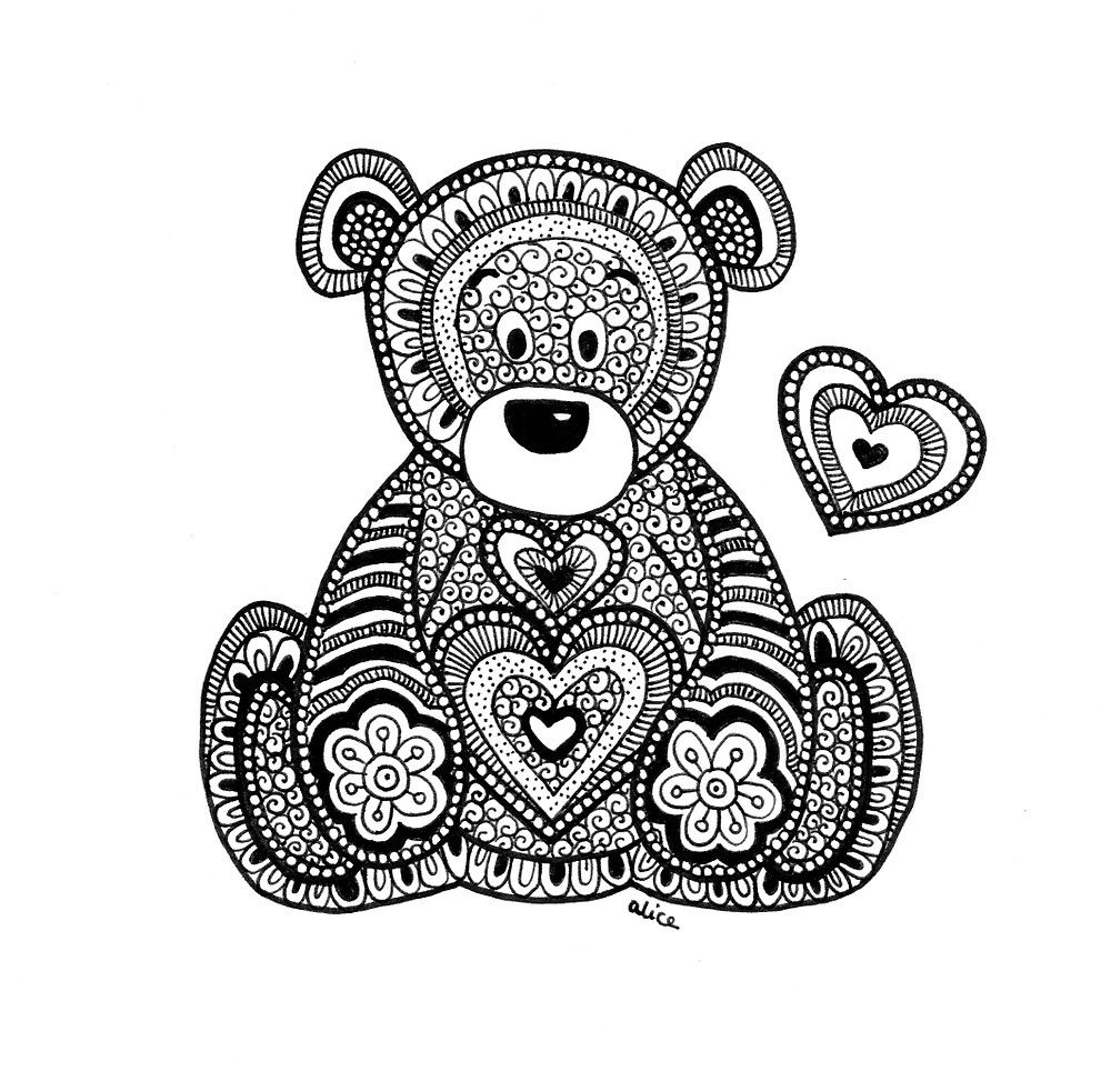 Black&White Zentangle Inspired Teddy Bear with Heart by Alice ...