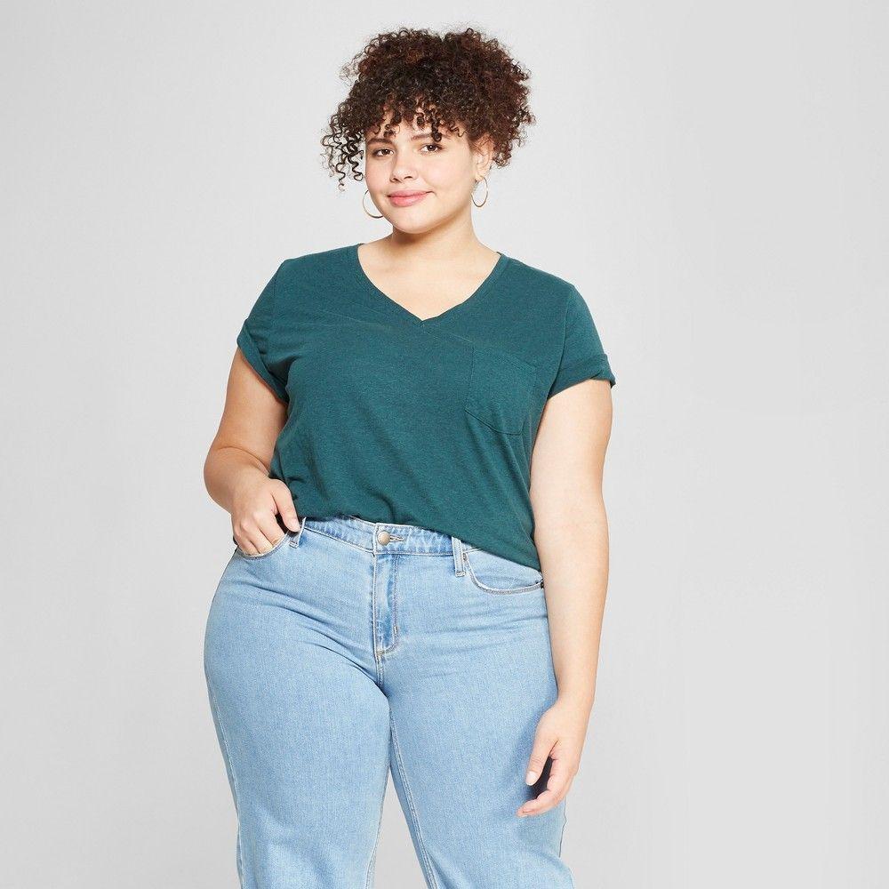 252ac2da45a06a Women's Plus Size Monterey Pocket V-Neck Short Sleeve T-Shirt - Universal  Thread Teal (Blue) 4X