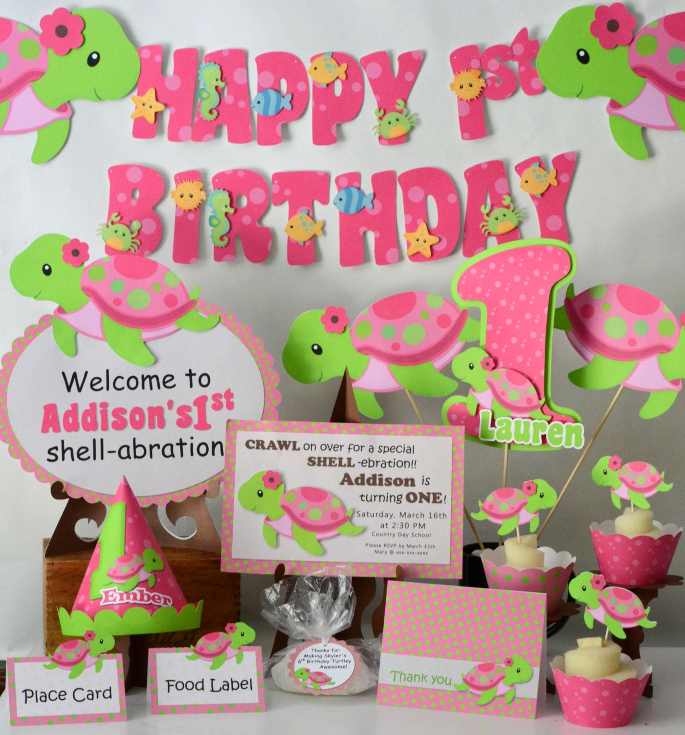 Pink girl turtle first birthday party or baby shower decorations