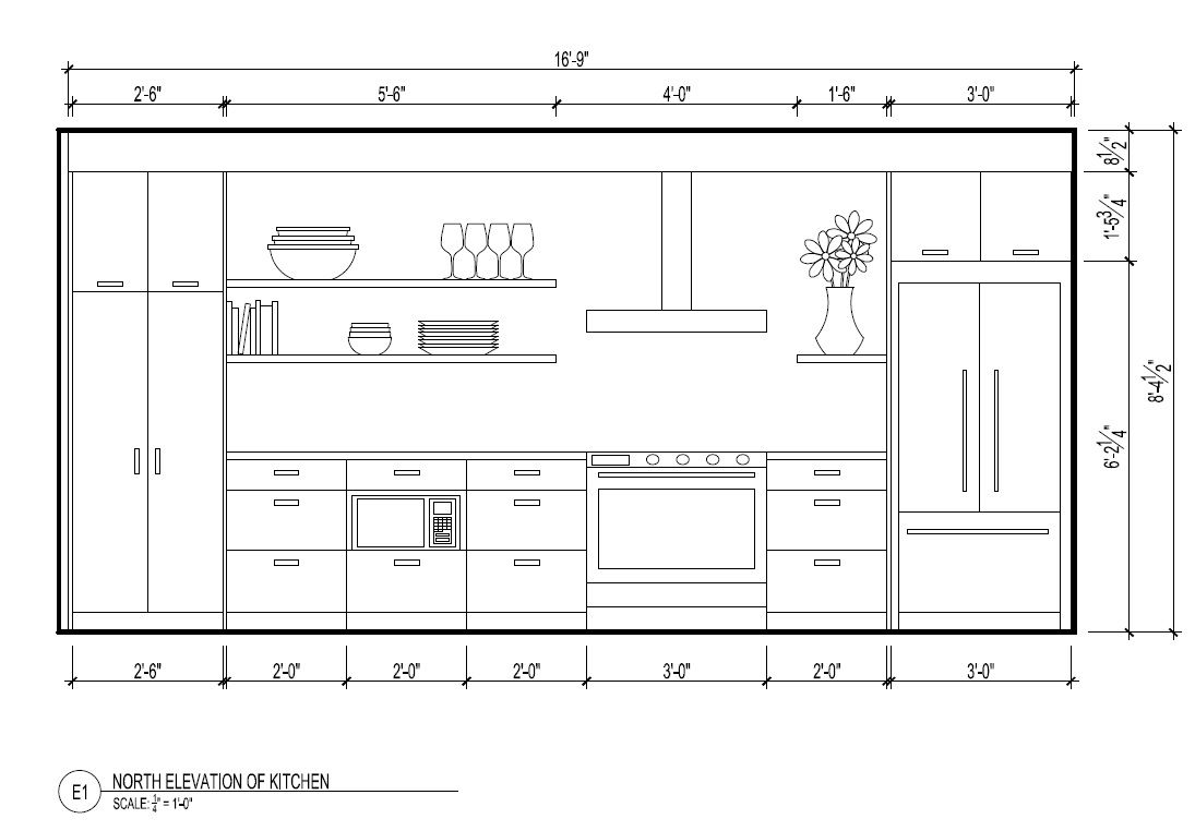 North elevation Kitchen drawing Kitchen layout plans