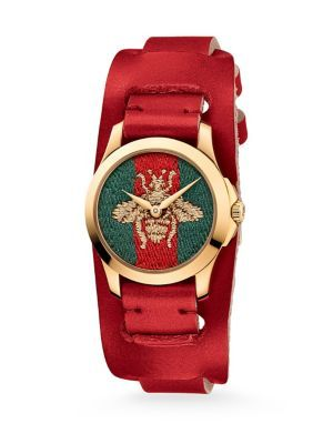 b439901e9e1 GUCCI G-Timeless Embroidered Bee Goldtone Stainless Steel   Leather Watch.   gucci  watch