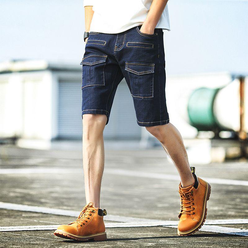 Célèbre Tooling Solid Denim Shorts Men's Cotton multi-pocket Knee Length  JT42