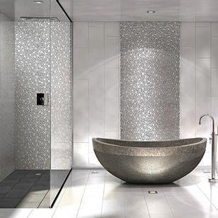 Idée décoration Salle de bain - Déco murale salle de bains en inox ...