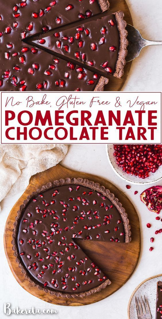 No Bake Chocolate Pomegranate Tart Gluten Free Paleo Vegan