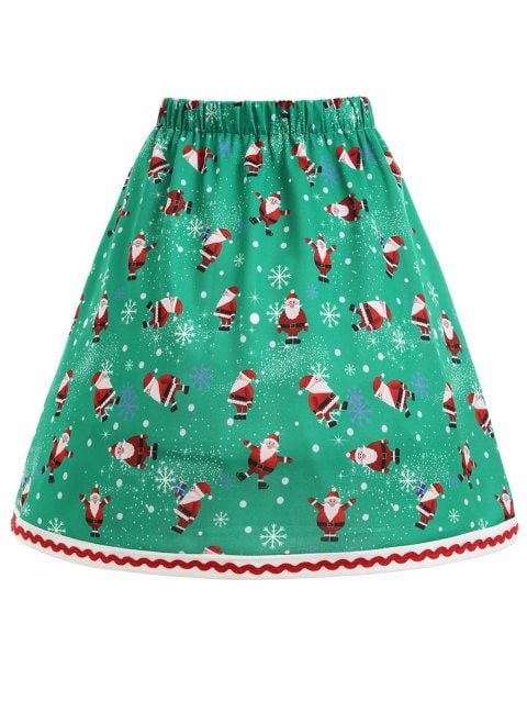 Christmas Santa Claus Snowflake Plus Size Skirt in 2018 skirts