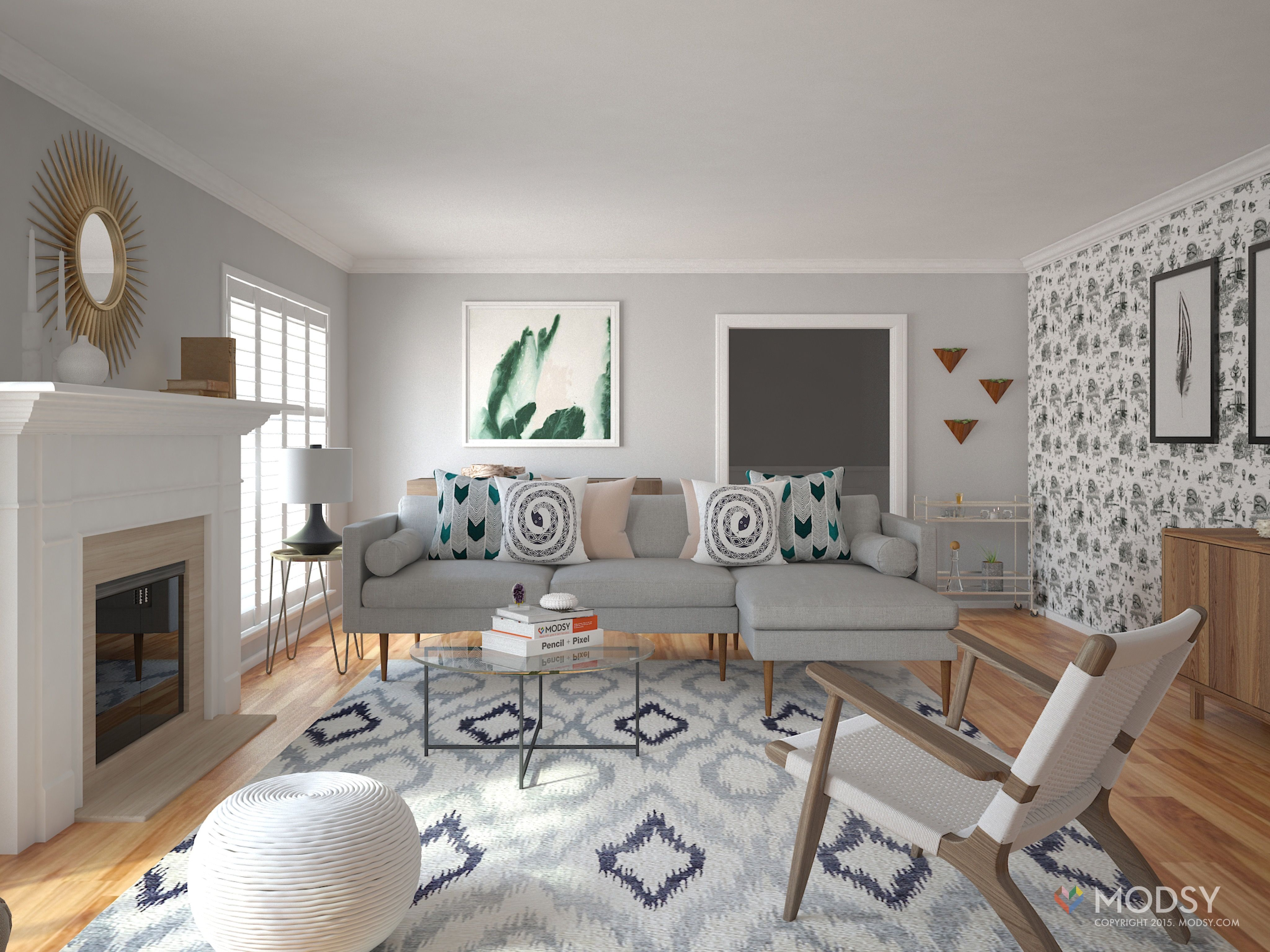 Modsy 3D rendering  Minimalist Eclectic Living Room. Modsy 3D rendering  Minimalist Eclectic Living Room    modsymagic