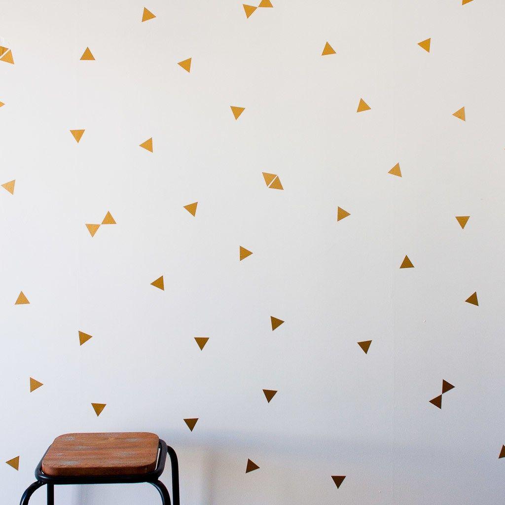 Stickers de tringulo en vinilo color dorado para decorar las triangle wall decals triangle wall stickers pink by florrieandboo amipublicfo Gallery