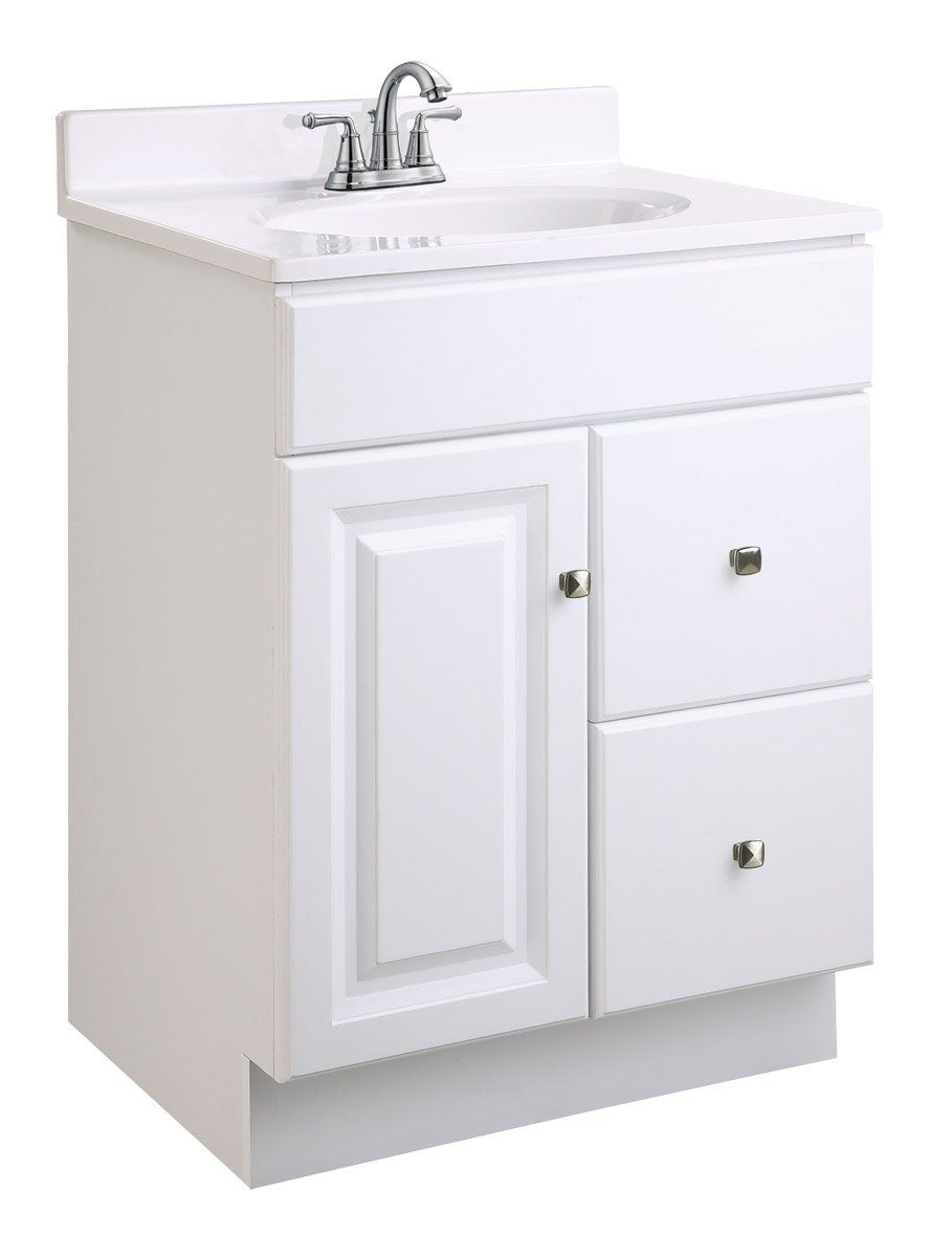 Design House 545004 Wyndham Readytoassemble 1 Door 2 Drawer Vanity White 24inches Wide By Bathroom Vanities Without Tops Single Bathroom Vanity Vanity Cabinet