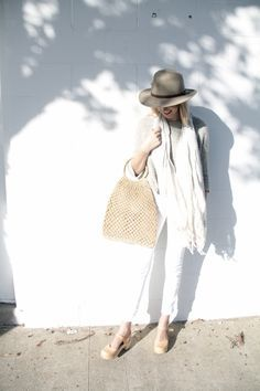 Nude clogs and all white spring outfits