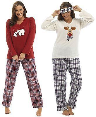 d56e5371f Para Mujer Reno Y Oso Polar De Navidad De Lujo Polar Pijamas eyemask por  foxbury in Clothes